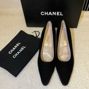 authentic CHANEL classic black suede heels